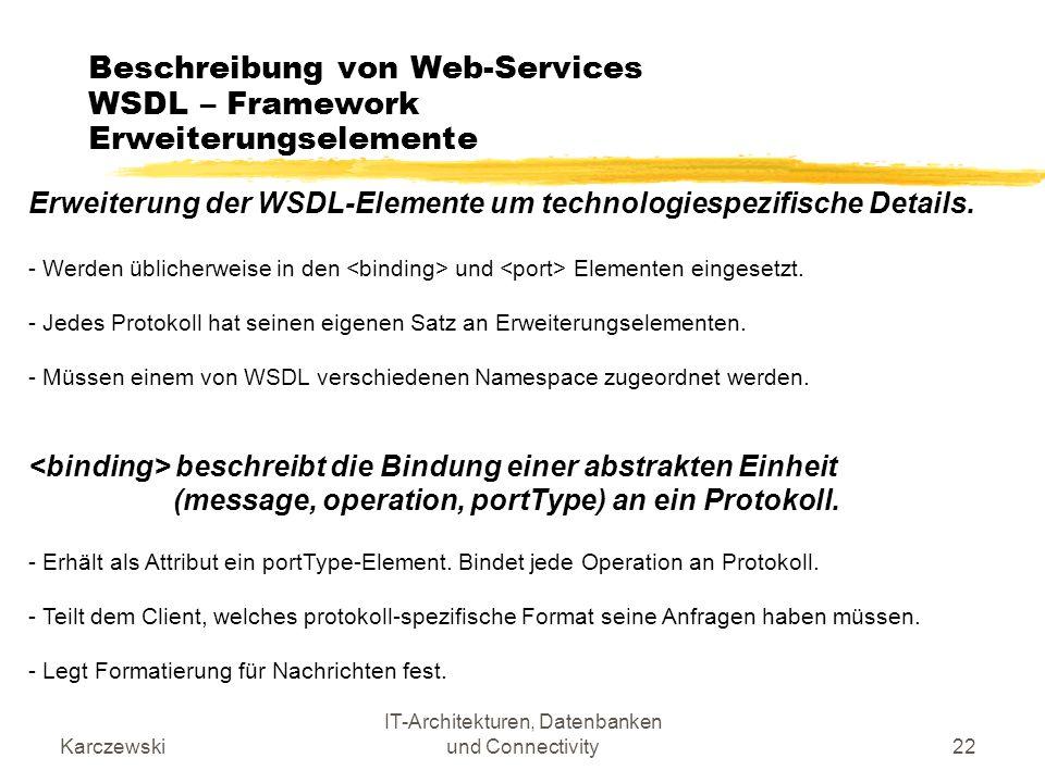 Karczewski IT-Architekturen, Datenbanken und Connectivity22 Beschreibung von Web-Services WSDL – Framework Erweiterungselemente Erweiterung der WSDL-E
