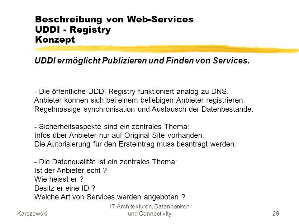 Karczewski IT-Architekturen, Datenbanken und Connectivity29 Beschreibung von Web-Services UDDI - Registry Konzept UDDI ermöglicht Publizieren und Find