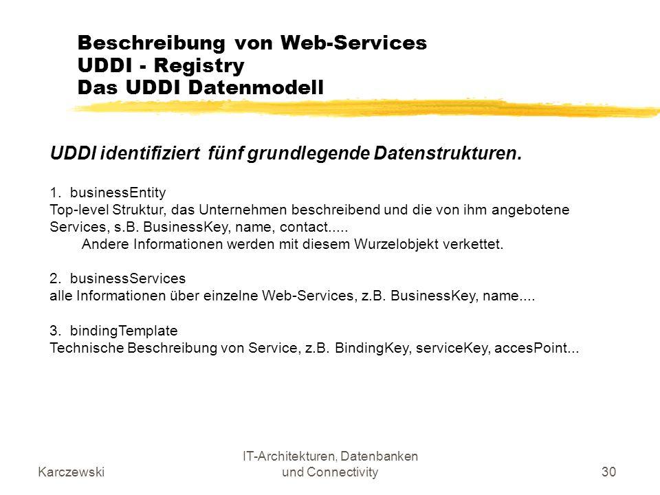 Karczewski IT-Architekturen, Datenbanken und Connectivity30 Beschreibung von Web-Services UDDI - Registry Das UDDI Datenmodell UDDI identifiziert fünf