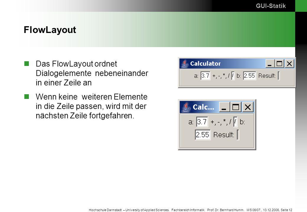 Seite 12 Hochschule Darmstadt – University of Applied Sciences. Fachbereich Informatik. Prof. Dr. Bernhard Humm. WS 06/07., 13.12.2006, FlowLayout Das