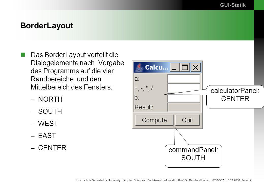Seite 14 Hochschule Darmstadt – University of Applied Sciences. Fachbereich Informatik. Prof. Dr. Bernhard Humm. WS 06/07., 13.12.2006, BorderLayout D