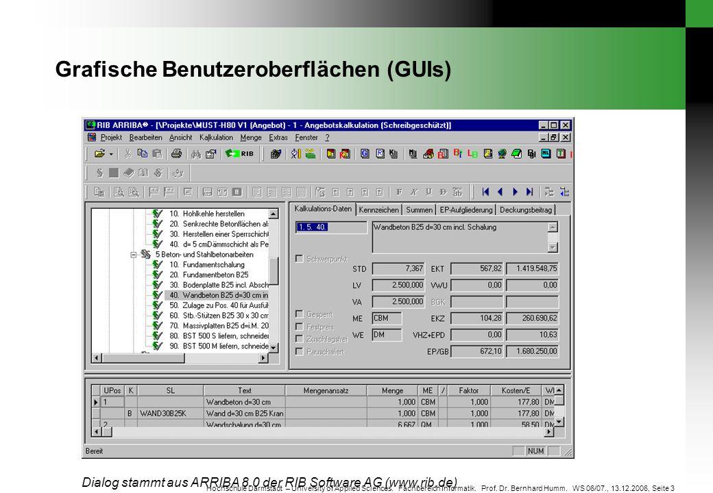 Seite 3 Hochschule Darmstadt – University of Applied Sciences. Fachbereich Informatik. Prof. Dr. Bernhard Humm. WS 06/07., 13.12.2006, Grafische Benut