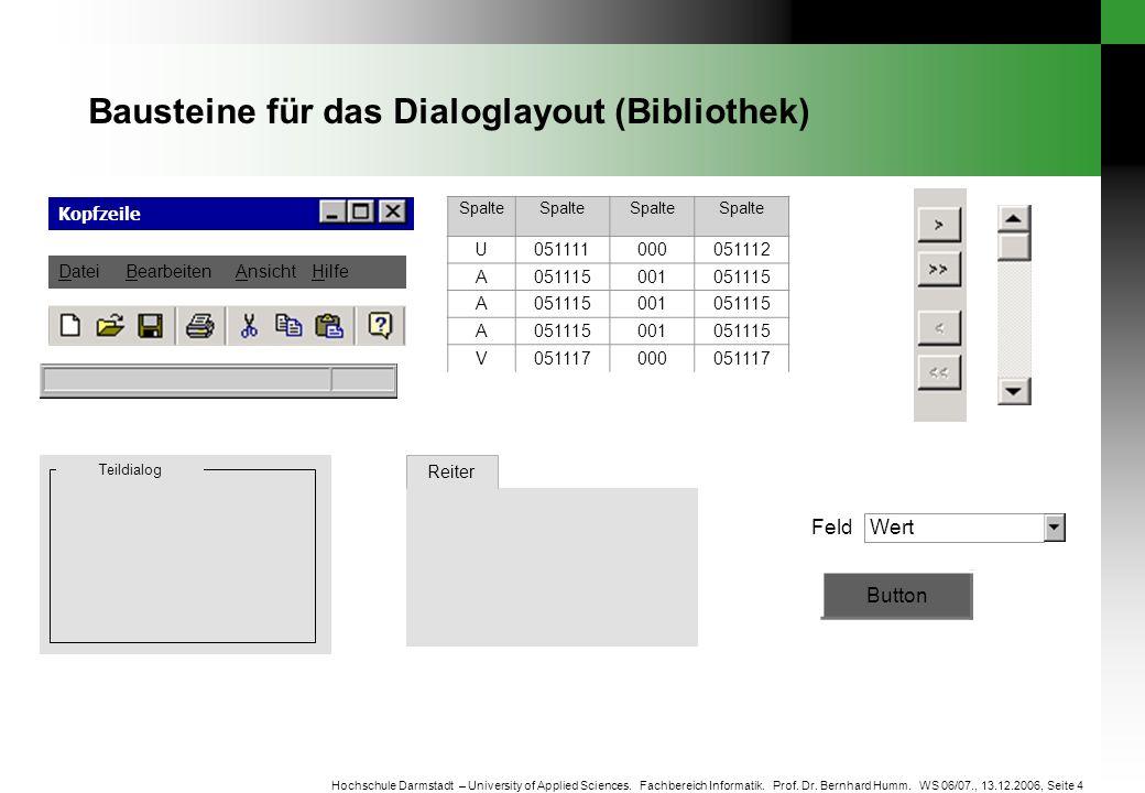 Seite 4 Hochschule Darmstadt – University of Applied Sciences. Fachbereich Informatik. Prof. Dr. Bernhard Humm. WS 06/07., 13.12.2006, Bausteine für d