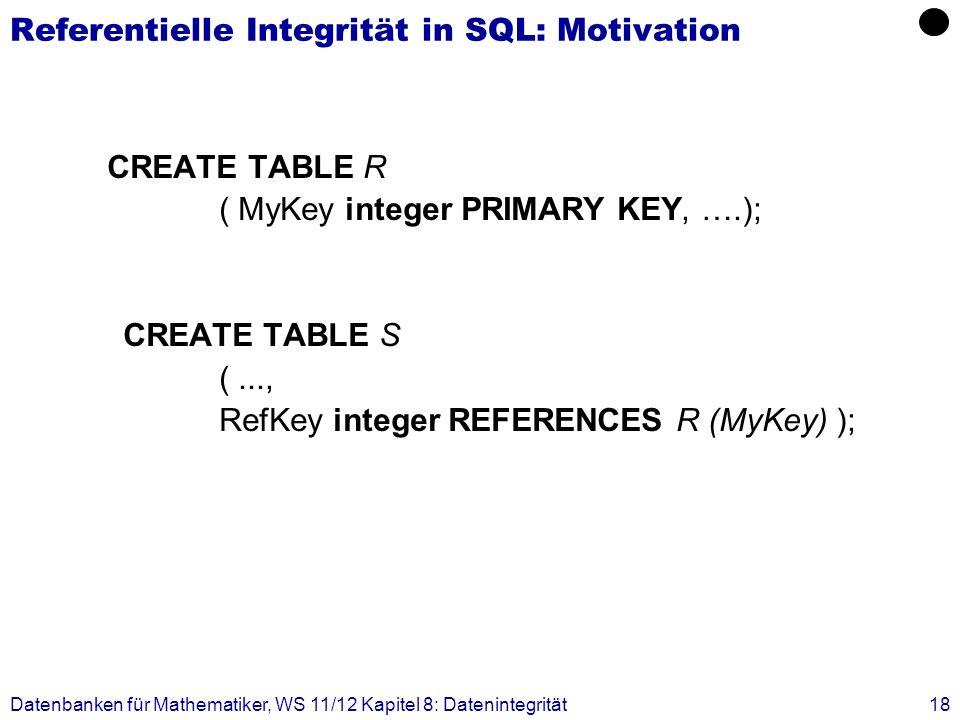 Datenbanken für Mathematiker, WS 11/12 Kapitel 8: Datenintegrität18 Referentielle Integrität in SQL: Motivation CREATE TABLE R ( MyKey integer PRIMARY