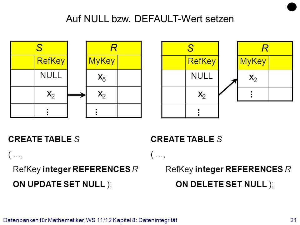 Datenbanken für Mathematiker, WS 11/12 Kapitel 8: Datenintegrität21 S RefKey NULL x2x2 R MyKey x5x5 x2x2 Auf NULL bzw. DEFAULT-Wert setzen CREATE TABL