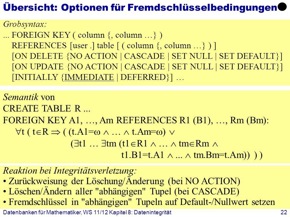 Datenbanken für Mathematiker, WS 11/12 Kapitel 8: Datenintegrität22 Übersicht: Optionen für Fremdschlüsselbedingungen Grobsyntax:... FOREIGN KEY ( col