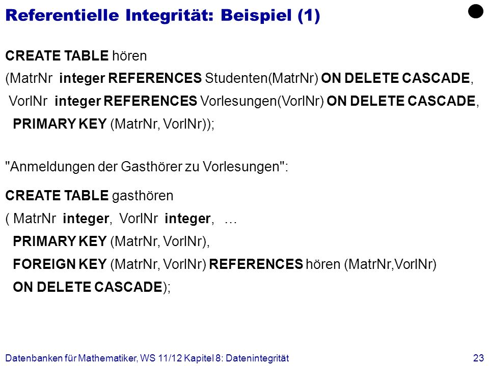 Datenbanken für Mathematiker, WS 11/12 Kapitel 8: Datenintegrität23 Referentielle Integrität: Beispiel (1) CREATE TABLE hören (MatrNr integer REFERENC