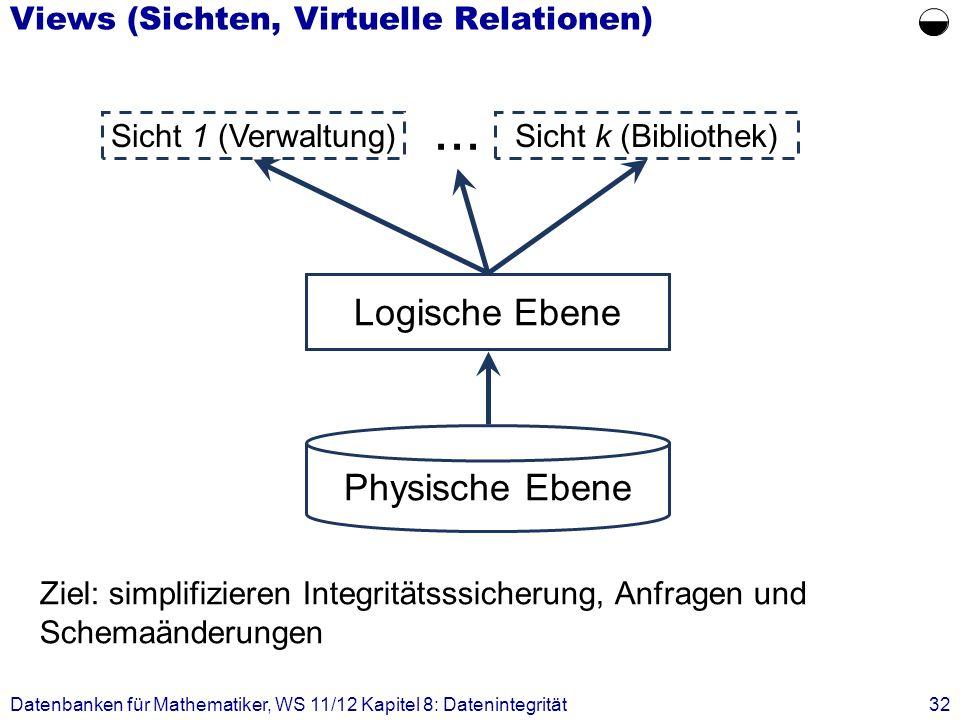 Datenbanken für Mathematiker, WS 11/12 Kapitel 8: Datenintegrität32 Views (Sichten, Virtuelle Relationen) Ziel: simplifizieren Integritätsssicherung,