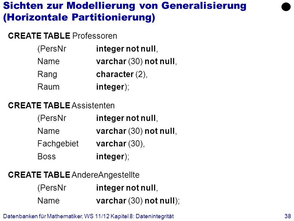 Datenbanken für Mathematiker, WS 11/12 Kapitel 8: Datenintegrität38 CREATE TABLE Professoren (PersNrinteger not null, Name varchar (30) not null, Rang