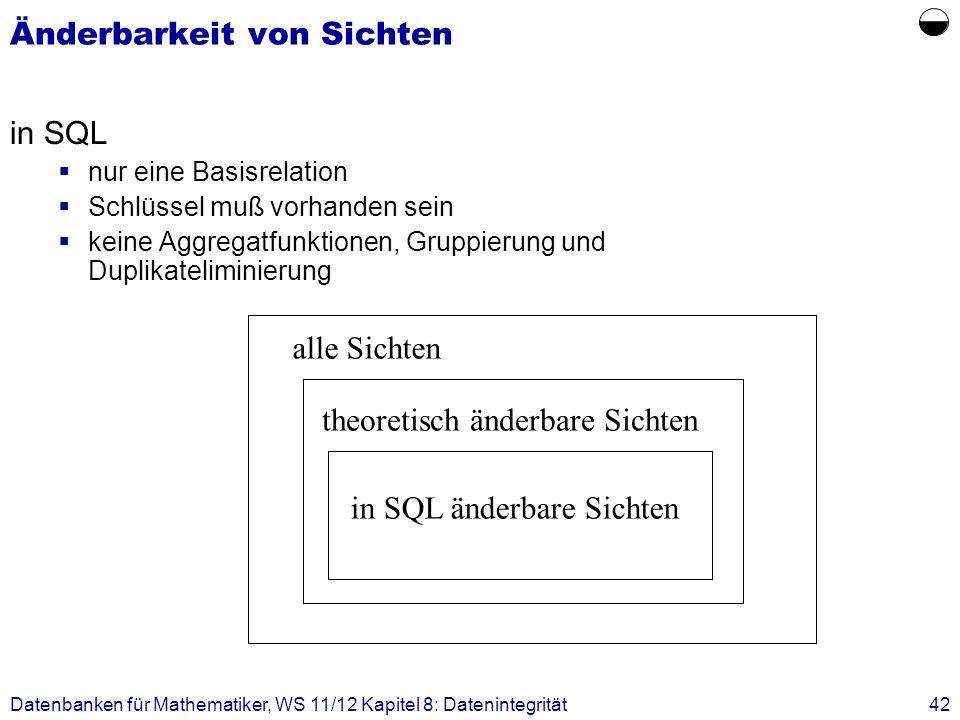 Datenbanken für Mathematiker, WS 11/12 Kapitel 8: Datenintegrität42 Änderbarkeit von Sichten in SQL nur eine Basisrelation Schlüssel muß vorhanden sei