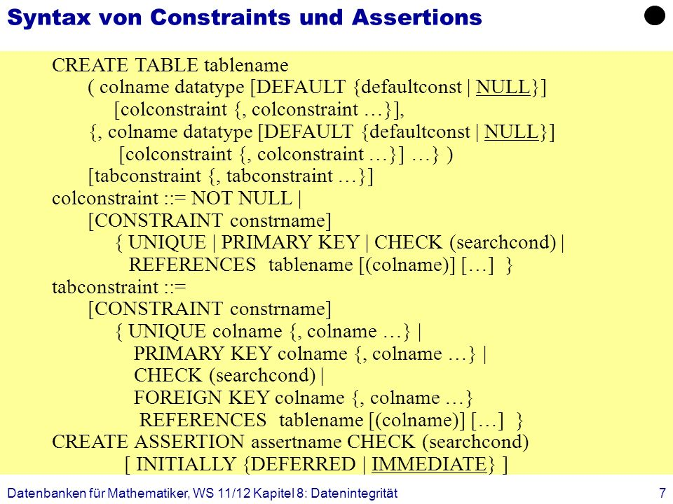Datenbanken für Mathematiker, WS 11/12 Kapitel 8: Datenintegrität38 CREATE TABLE Professoren (PersNrinteger not null, Name varchar (30) not null, Rangcharacter (2), Raum integer); CREATE TABLE Assistenten (PersNrinteger not null, Name varchar (30) not null, Fachgebietvarchar (30), Bossinteger); CREATE TABLE AndereAngestellte (PersNrinteger not null, Name varchar (30) not null); Sichten zur Modellierung von Generalisierung (Horizontale Partitionierung)