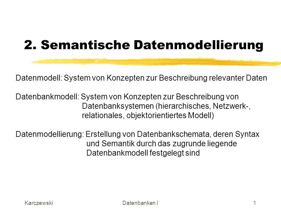 KarczewskiDatenbanken I2 Prinzipielle Vorgehensweise beim Datenbankentwurf Ausschnitt aus der Realwelt (Miniwelt) Datenbankschema Datenmodellierung Parallel zum Datenmodellierung erfolgt der Funktionsentwurf -> Veranstaltung Softwaretechnik