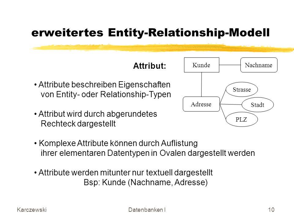 KarczewskiDatenbanken I10 erweitertes Entity-Relationship-Modell Attribut: KundeNachname Adresse Strasse Stadt PLZ Attribute beschreiben Eigenschaften von Entity- oder Relationship-Typen Attribut wird durch abgerundetes Rechteck dargestellt Komplexe Attribute können durch Auflistung ihrer elementaren Datentypen in Ovalen dargestellt werden Attribute werden mitunter nur textuell dargestellt Bsp: Kunde (Nachname, Adresse)