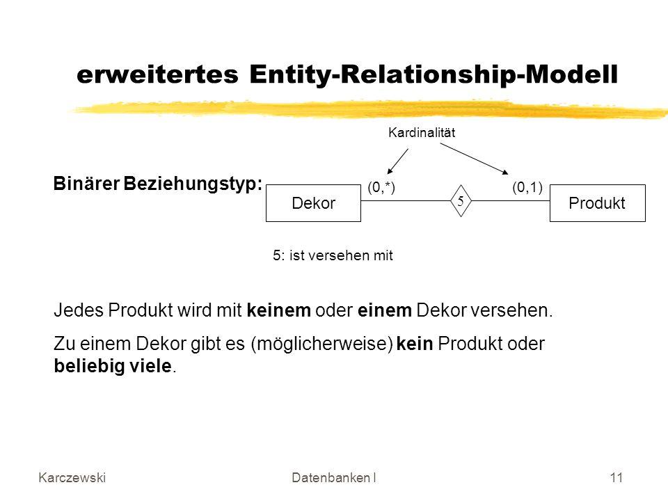 KarczewskiDatenbanken I11 erweitertes Entity-Relationship-Modell DekorProdukt 5 5: ist versehen mit (0,*) (0,1) Jedes Produkt wird mit keinem oder einem Dekor versehen.