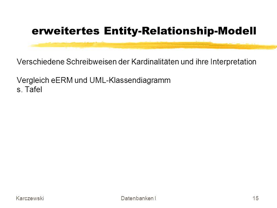 KarczewskiDatenbanken I15 Verschiedene Schreibweisen der Kardinalitäten und ihre Interpretation Vergleich eERM und UML-Klassendiagramm s.