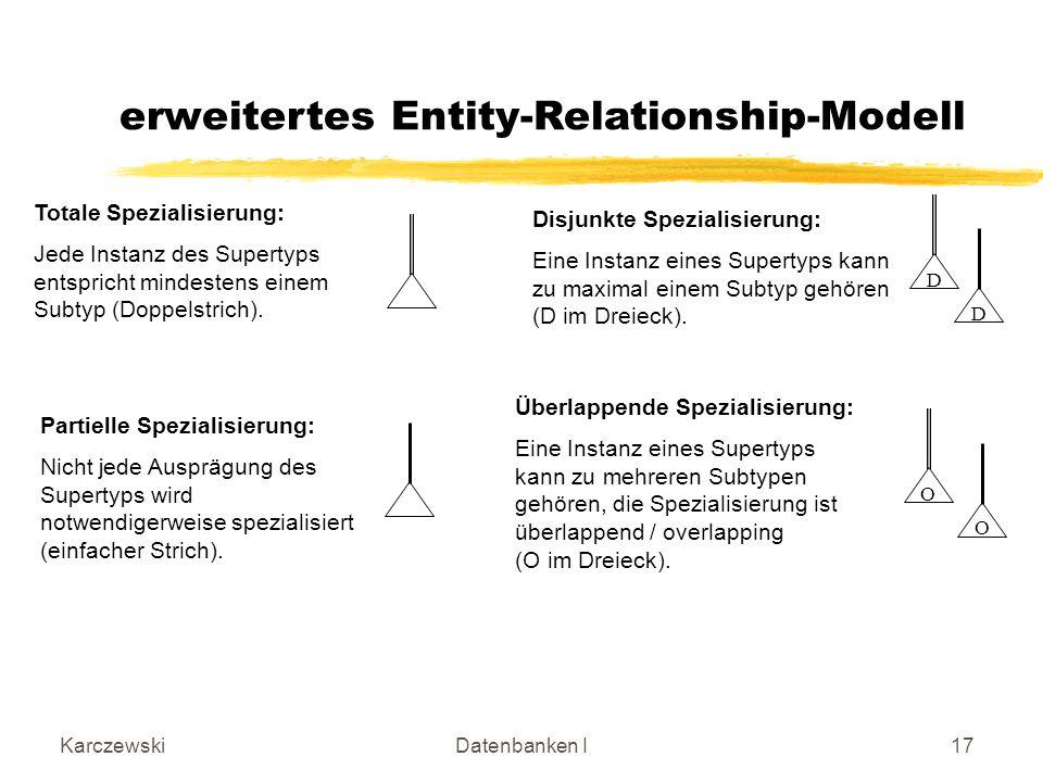 KarczewskiDatenbanken I17 O Totale Spezialisierung: Jede Instanz des Supertyps entspricht mindestens einem Subtyp (Doppelstrich).