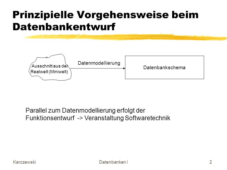 KarczewskiDatenbanken I13 Produkt 4 (0,*) Produktgruppe Teilprodukt erweitertes Entity-Relationship-Modell Rekursiver binärer Beziehungstyp: 4: besteht aus Produkt besteht aus keinen oder mehreren Teilprodukten Produkt gehört zu keiner oder mehreren Produktgruppen Teilprodukt und Produktgruppe sind Rollen, in denen Produkte vorkommen können