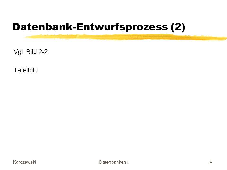 KarczewskiDatenbanken I4 Datenbank-Entwurfsprozess (2) Vgl. Bild 2-2 Tafelbild