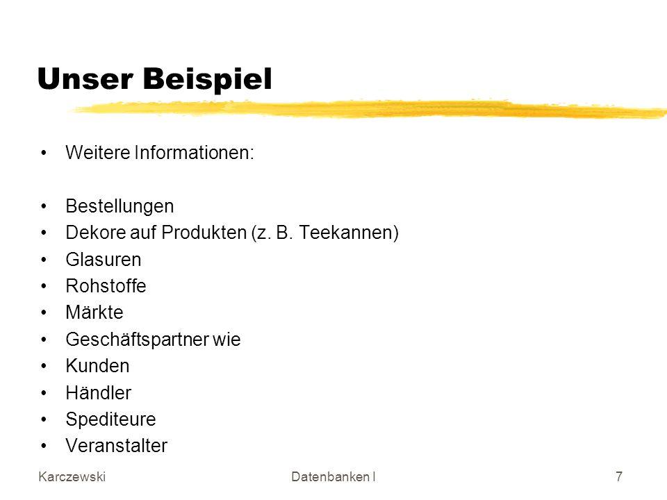 KarczewskiDatenbanken I28 Integration der Teil- Systeme der Keramischen Werkstatt Geschäftspartner HändlerSpediteur O Veranstalter Rohstoff 1 Markt Bedingung 3 2 8 9 10 (1,*) (0,*) (1,*) (0,*) (1,1) Kunde 7 (0,*) Dekor Glasur 6 5 Produkt 4 (1,*) (0,*) (0,1) (0,*)