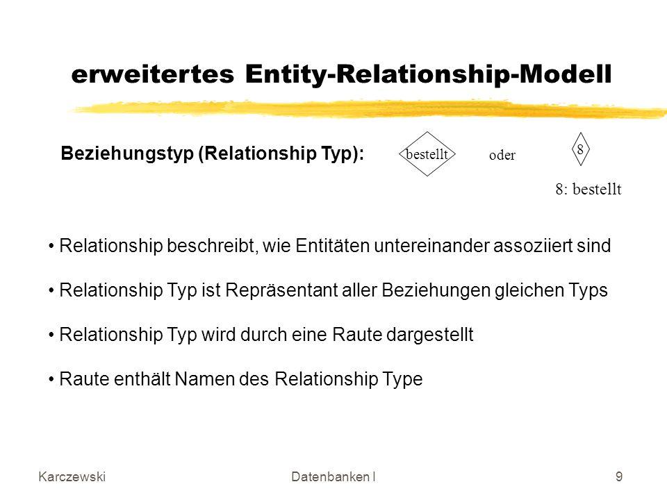 KarczewskiDatenbanken I9 8 bestellt oder 8: bestellt erweitertes Entity-Relationship-Modell Beziehungstyp (Relationship Typ): Relationship beschreibt, wie Entitäten untereinander assoziiert sind Relationship Typ ist Repräsentant aller Beziehungen gleichen Typs Relationship Typ wird durch eine Raute dargestellt Raute enthält Namen des Relationship Type