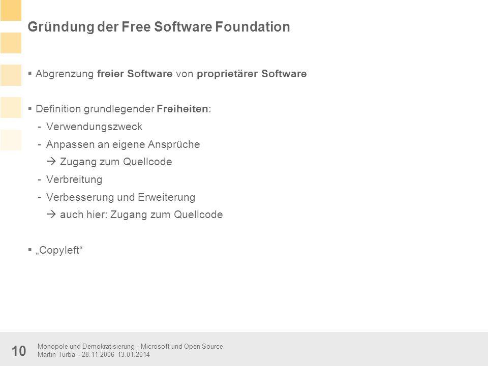 Monopole und Demokratisierung - Microsoft und Open Source Martin Turba - 28.11.2006 13.01.2014 10 Gründung der Free Software Foundation Abgrenzung fre