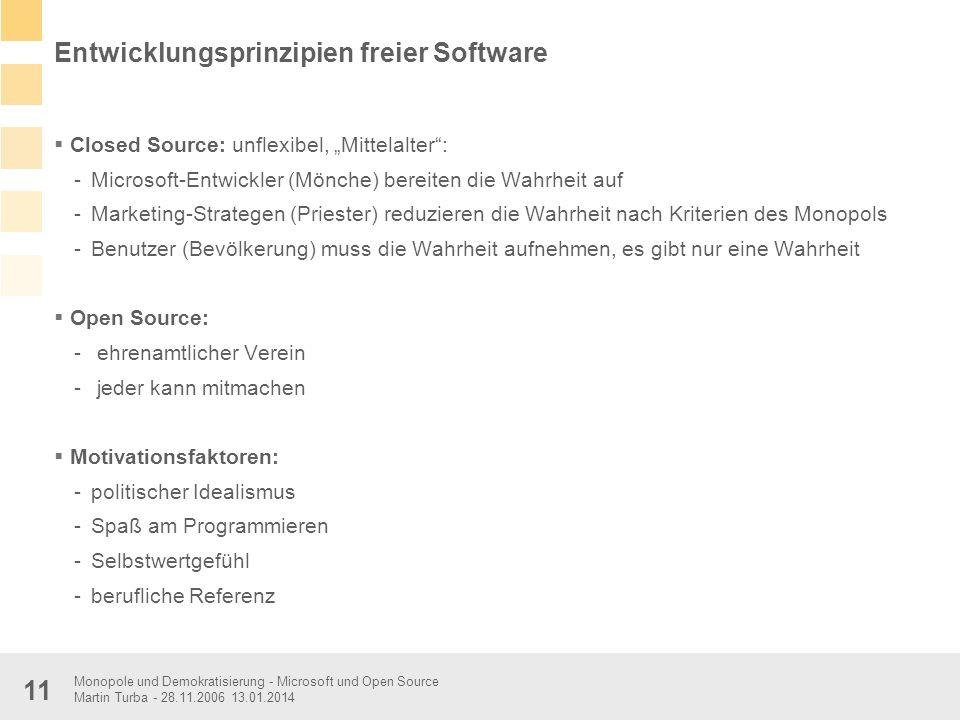 Monopole und Demokratisierung - Microsoft und Open Source Martin Turba - 28.11.2006 13.01.2014 11 Entwicklungsprinzipien freier Software Closed Source