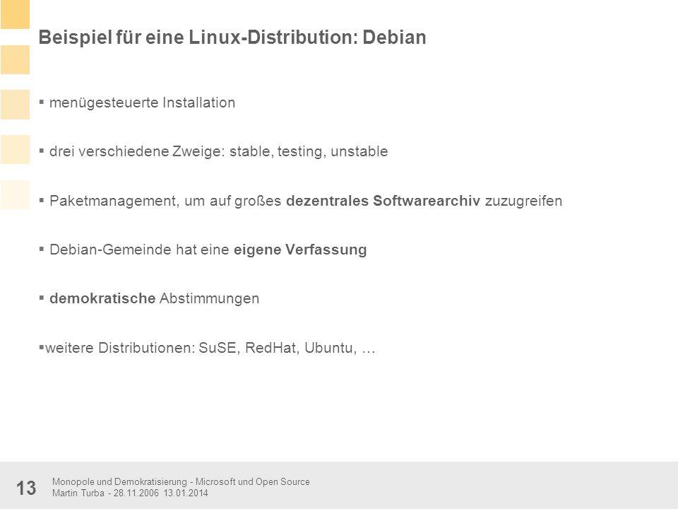 Monopole und Demokratisierung - Microsoft und Open Source Martin Turba - 28.11.2006 13.01.2014 13 Beispiel für eine Linux-Distribution: Debian menüges