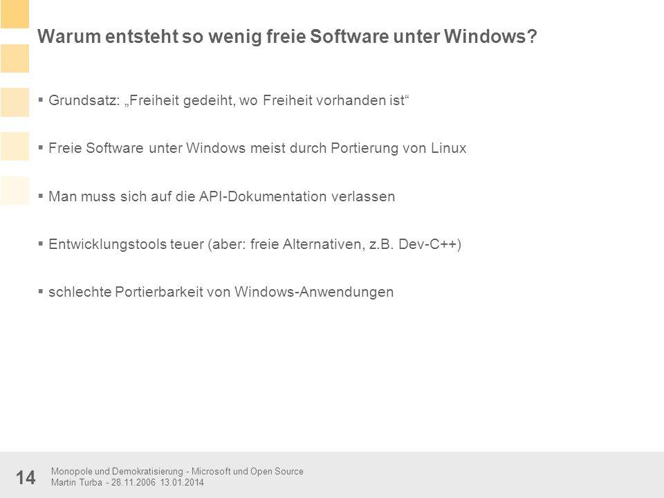 Monopole und Demokratisierung - Microsoft und Open Source Martin Turba - 28.11.2006 13.01.2014 14 Warum entsteht so wenig freie Software unter Windows