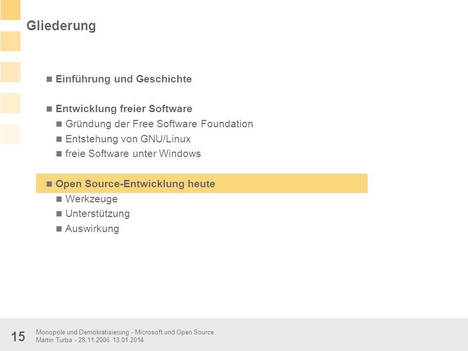 Monopole und Demokratisierung - Microsoft und Open Source Martin Turba - 28.11.2006 13.01.2014 15 Einführung und Geschichte Entwicklung freier Softwar