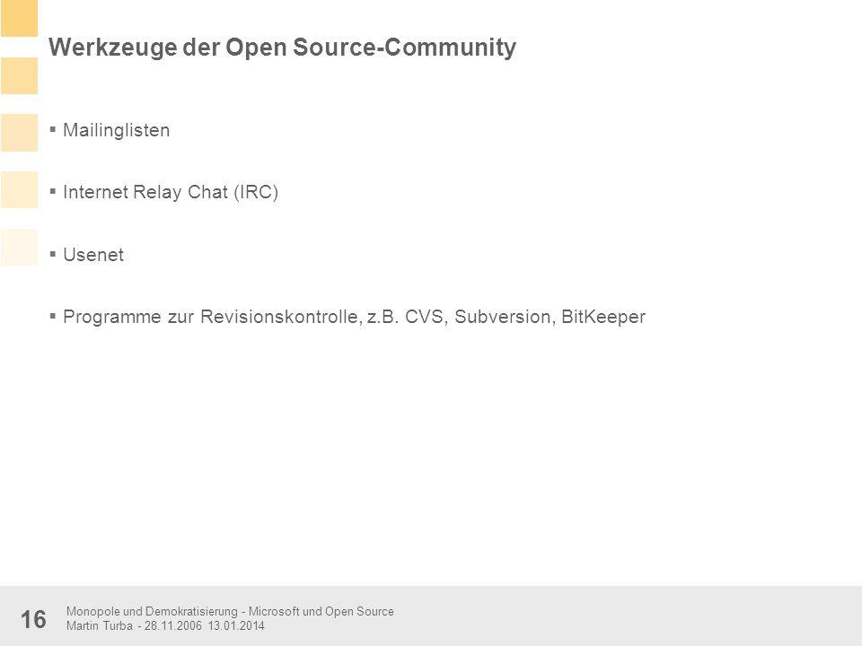 Monopole und Demokratisierung - Microsoft und Open Source Martin Turba - 28.11.2006 13.01.2014 16 Werkzeuge der Open Source-Community Mailinglisten In