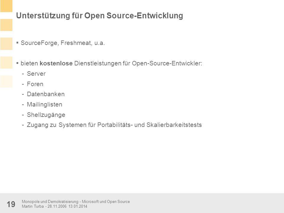 Monopole und Demokratisierung - Microsoft und Open Source Martin Turba - 28.11.2006 13.01.2014 19 Unterstützung für Open Source-Entwicklung SourceForg