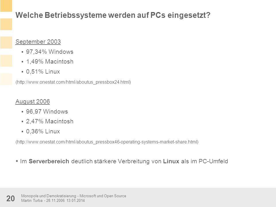 Monopole und Demokratisierung - Microsoft und Open Source Martin Turba - 28.11.2006 13.01.2014 20 Welche Betriebssysteme werden auf PCs eingesetzt? Se