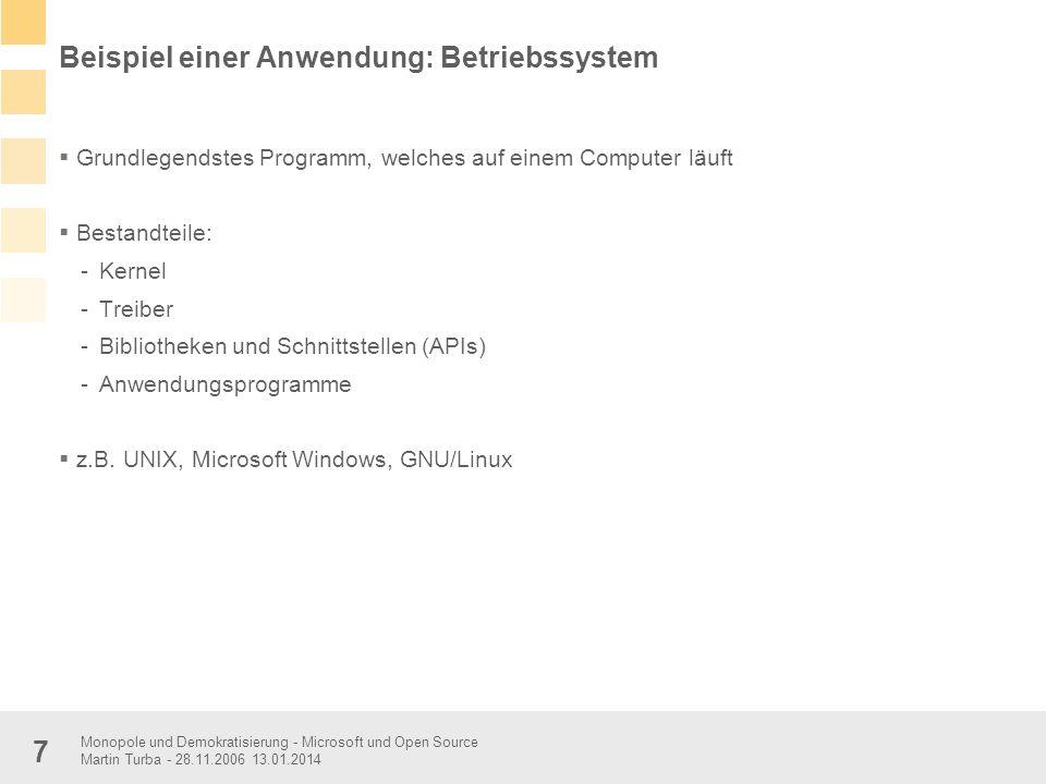 Monopole und Demokratisierung - Microsoft und Open Source Martin Turba - 28.11.2006 13.01.2014 7 Beispiel einer Anwendung: Betriebssystem Grundlegends