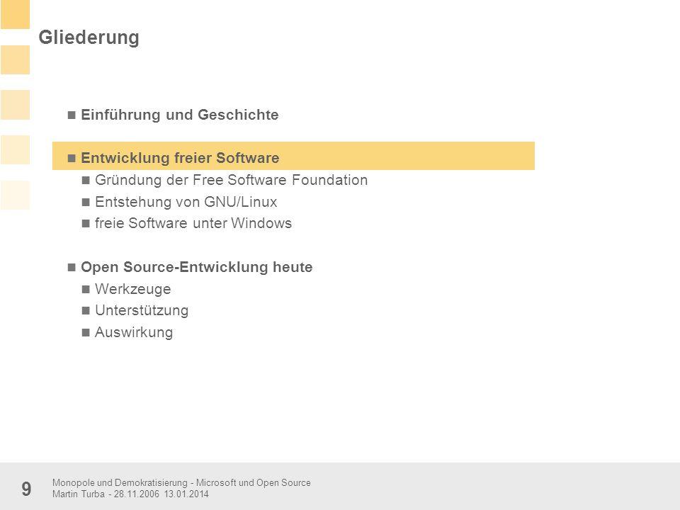 Monopole und Demokratisierung - Microsoft und Open Source Martin Turba - 28.11.2006 13.01.2014 9 Einführung und Geschichte Entwicklung freier Software