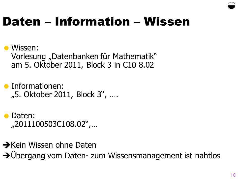 10 Daten – Information – Wissen Wissen: Vorlesung Datenbanken für Mathematik am 5.