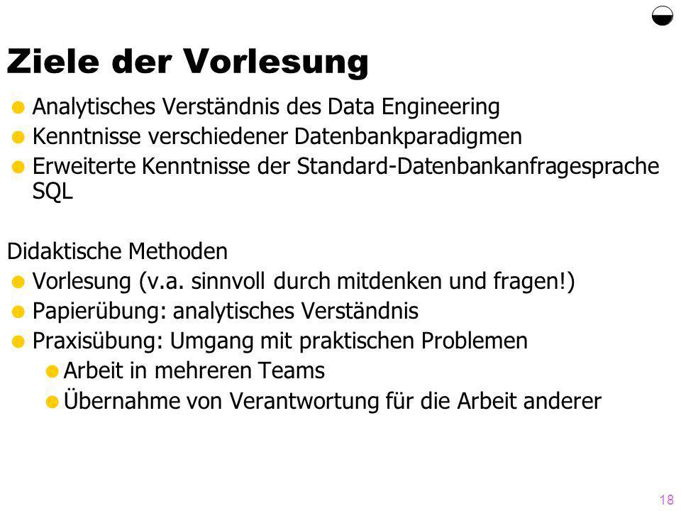 18 Ziele der Vorlesung Analytisches Verständnis des Data Engineering Kenntnisse verschiedener Datenbankparadigmen Erweiterte Kenntnisse der Standard-Datenbankanfragesprache SQL Didaktische Methoden Vorlesung (v.a.