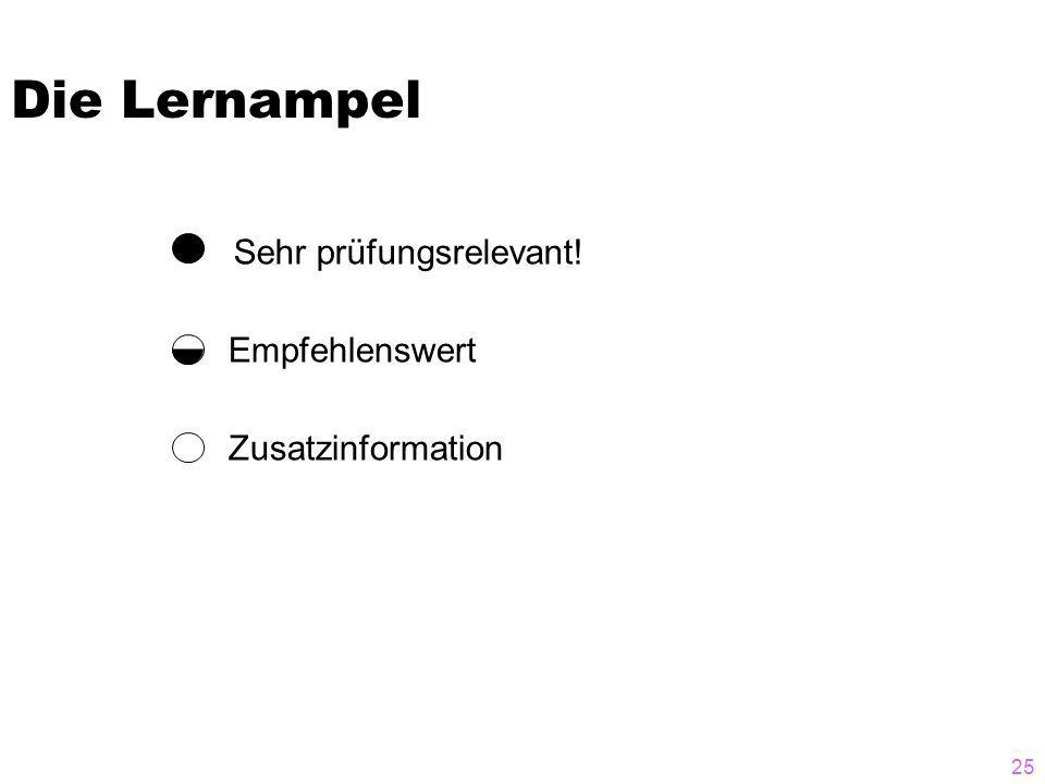 25 Die Lernampel Zusatzinformation Empfehlenswert Sehr prüfungsrelevant!
