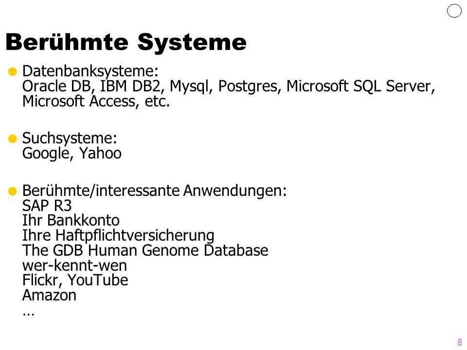 8 Berühmte Systeme Datenbanksysteme: Oracle DB, IBM DB2, Mysql, Postgres, Microsoft SQL Server, Microsoft Access, etc. Suchsysteme: Google, Yahoo Berü