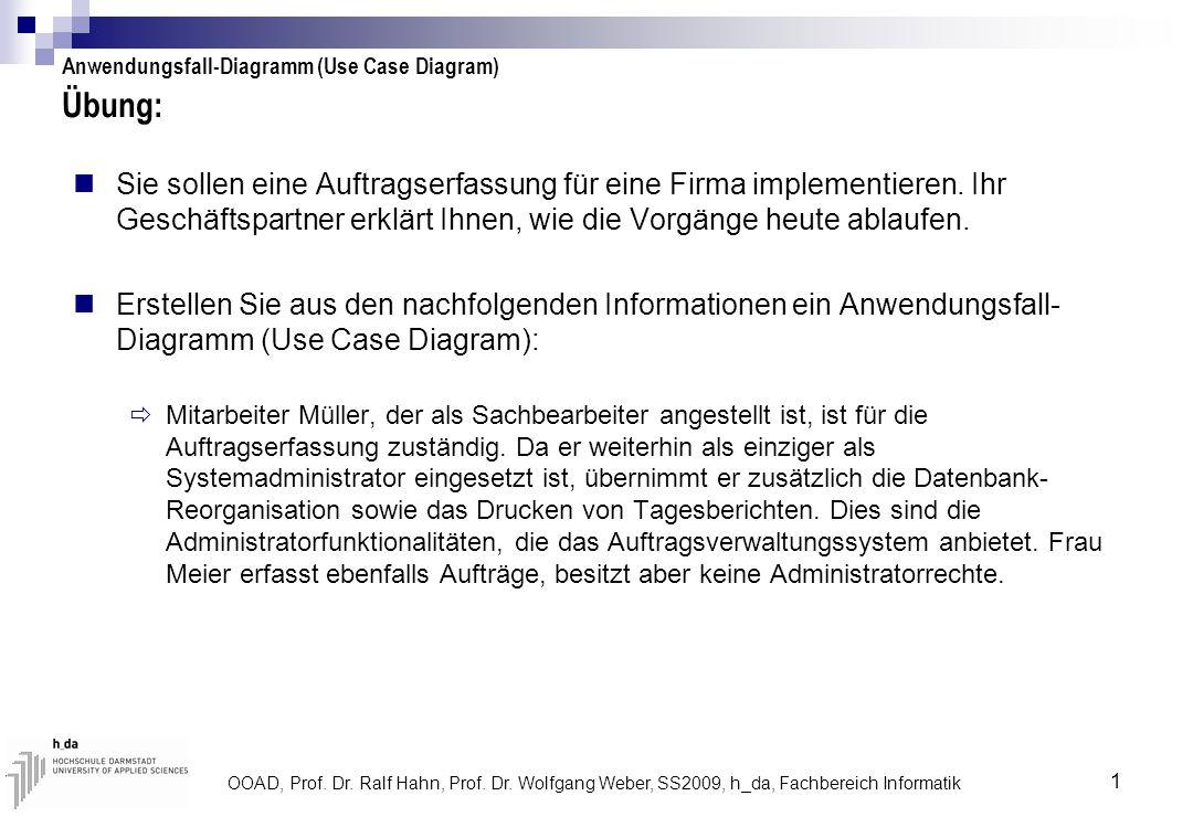 OOAD, Prof. Dr. Ralf Hahn, Prof. Dr. Wolfgang Weber, SS2009, h_da, Fachbereich Informatik 1 Übung: Sie sollen eine Auftragserfassung für eine Firma im