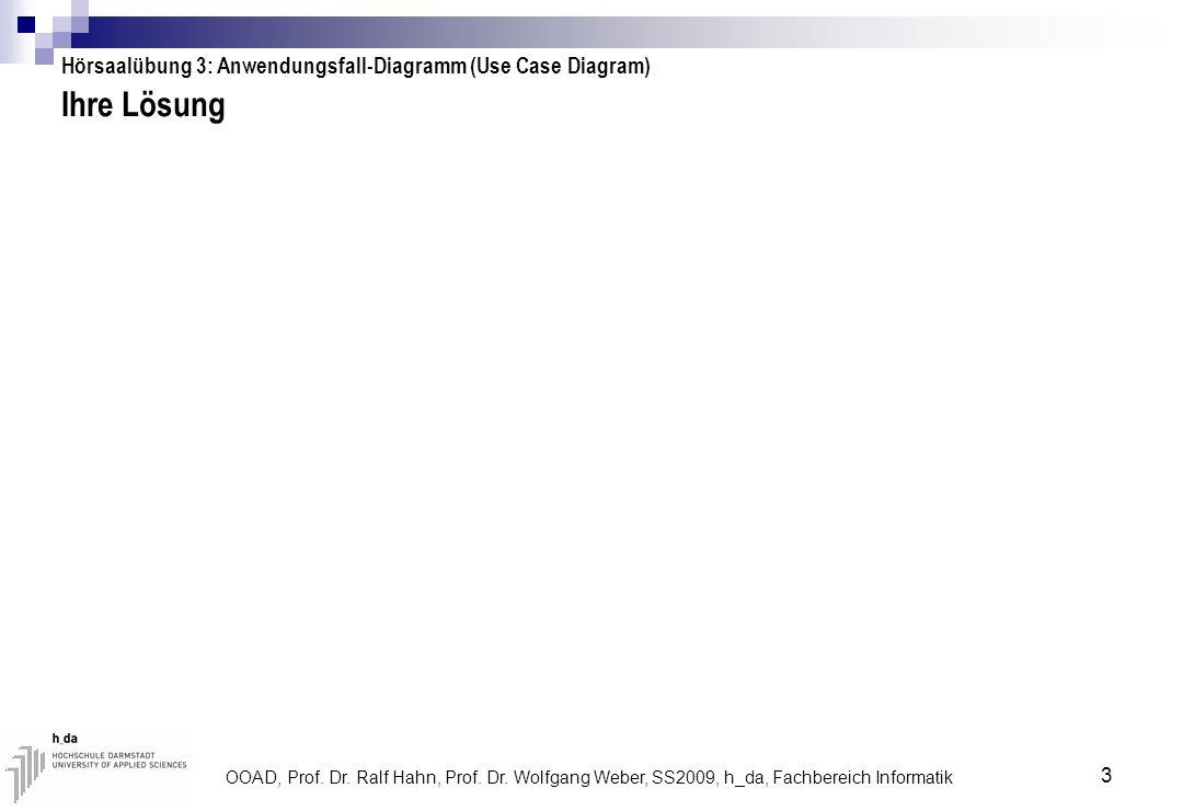 OOAD, Prof. Dr. Ralf Hahn, Prof. Dr. Wolfgang Weber, SS2009, h_da, Fachbereich Informatik 3 Ihre Lösung Hörsaalübung 3: Anwendungsfall-Diagramm (Use C