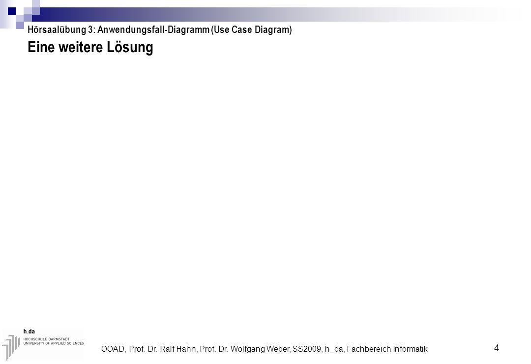 OOAD, Prof. Dr. Ralf Hahn, Prof. Dr. Wolfgang Weber, SS2009, h_da, Fachbereich Informatik 4 Eine weitere Lösung Hörsaalübung 3: Anwendungsfall-Diagram
