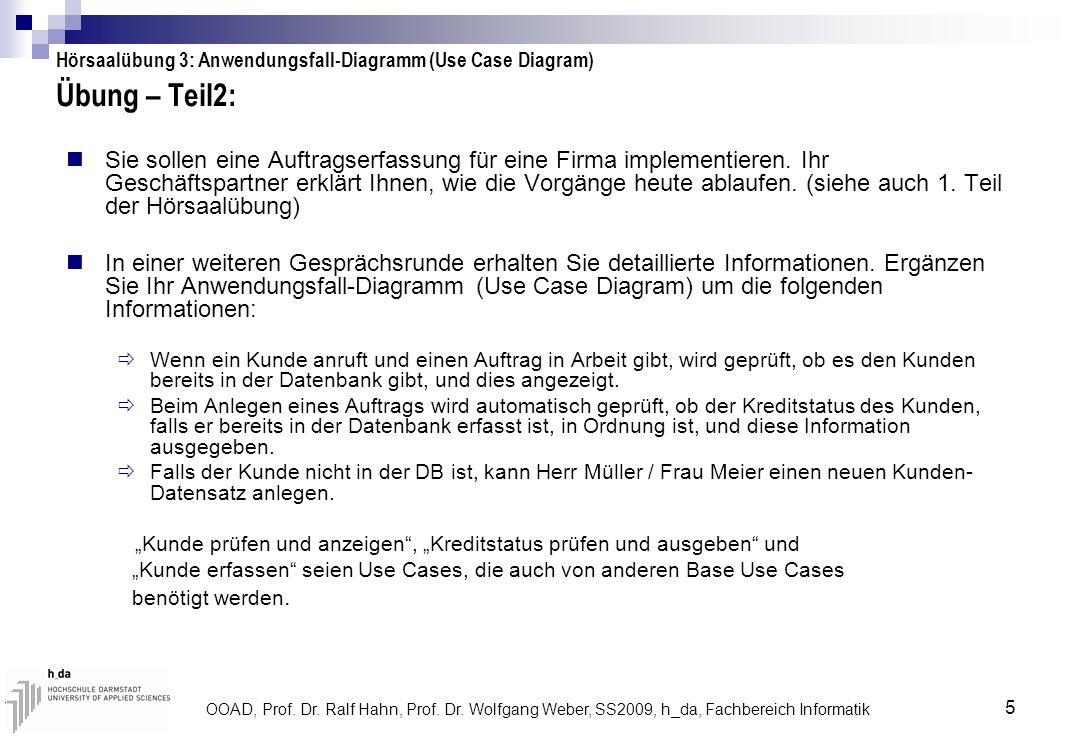 OOAD, Prof. Dr. Ralf Hahn, Prof. Dr. Wolfgang Weber, SS2009, h_da, Fachbereich Informatik 5 Übung – Teil2: Sie sollen eine Auftragserfassung für eine