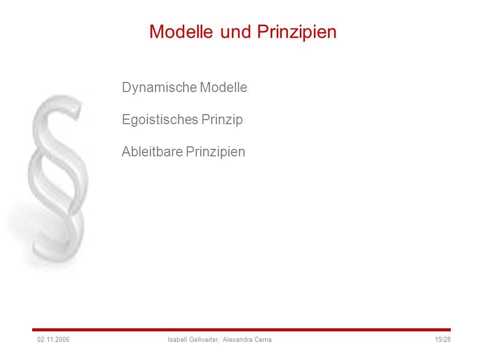 Modelle und Prinzipien Dynamische Modelle Egoistisches Prinzip Ableitbare Prinzipien 02.11.2006 Isabell Gellweiter, Alexandra Cerna 15/28