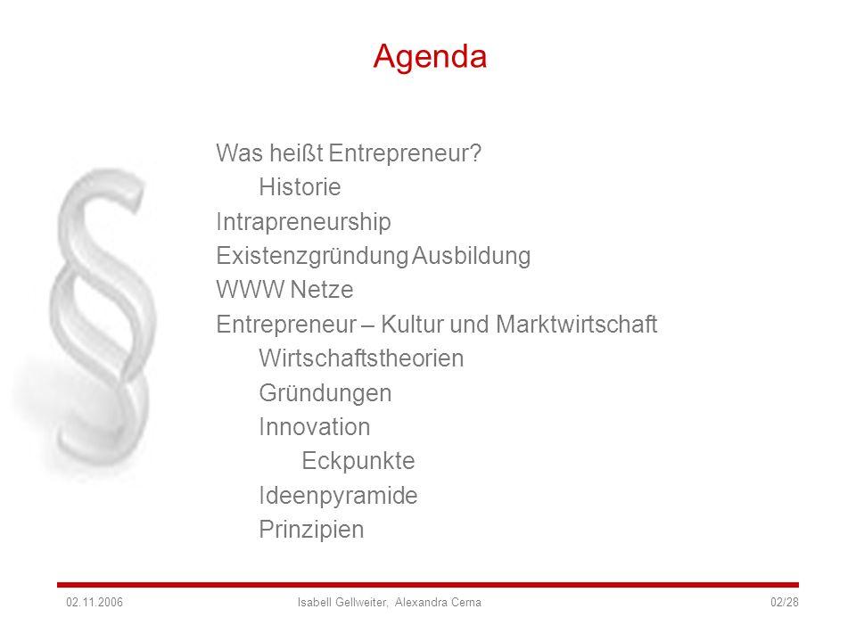 Agenda Was heißt Entrepreneur? Historie Intrapreneurship Existenzgründung Ausbildung WWW Netze Entrepreneur – Kultur und Marktwirtschaft Wirtschaftsth