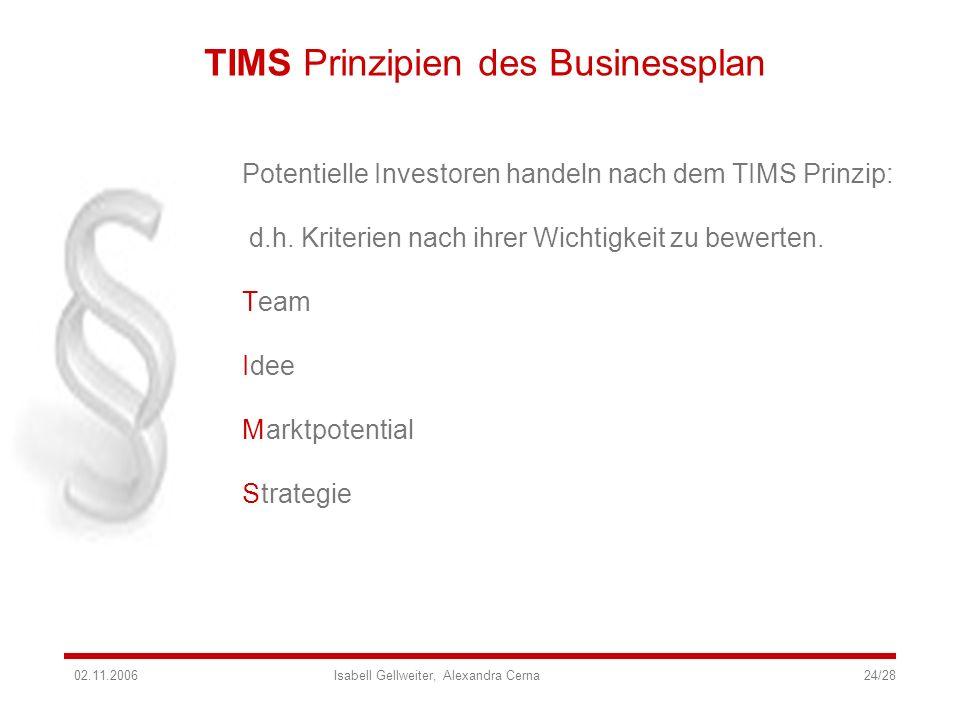 TIMS Prinzipien des Businessplan Potentielle Investoren handeln nach dem TIMS Prinzip: d.h. Kriterien nach ihrer Wichtigkeit zu bewerten. T I M S eam