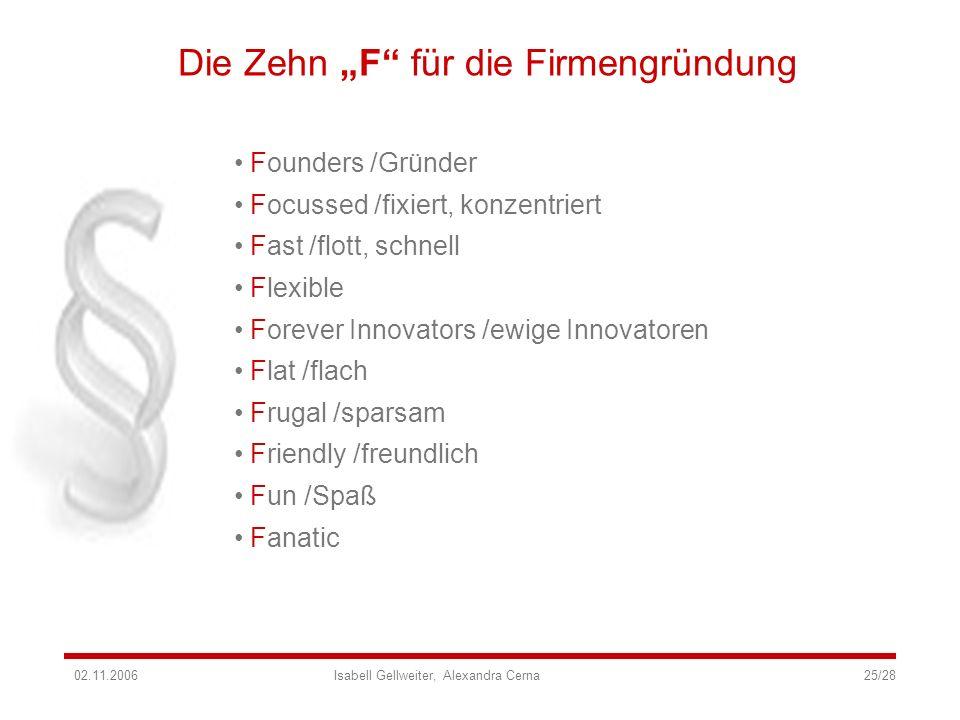 Die Zehn F für die Firmengründung Founders /Gründer Focussed /fixiert, konzentriert Fast /flott, schnell Flexible Forever Innovators /ewige Innovatore