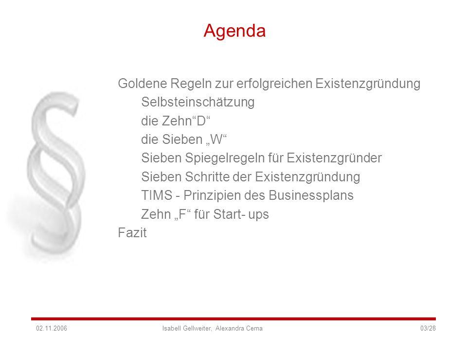Agenda Goldene Regeln zur erfolgreichen Existenzgründung Selbsteinschätzung die ZehnD die Sieben W Sieben Spiegelregeln für Existenzgründer Sieben Sch