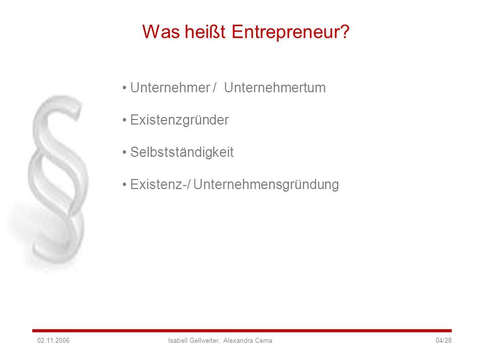 Was heißt Entrepreneur? Unternehmer / Unternehmertum Existenzgründer Selbstständigkeit Existenz-/ Unternehmensgründung 02.11.2006 Isabell Gellweiter,