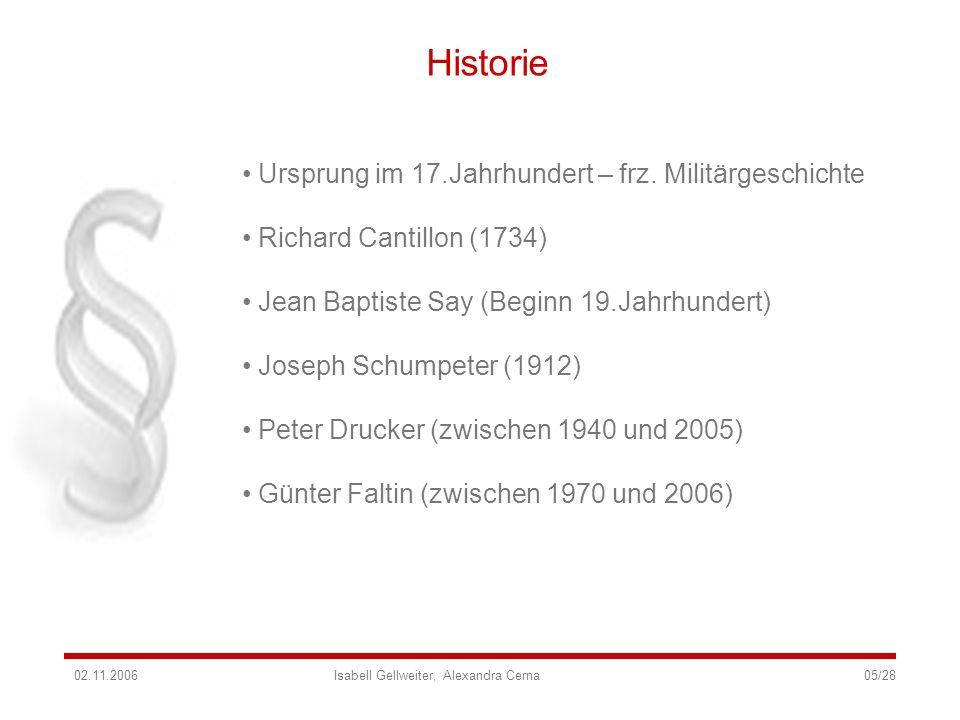 Historie Ursprung im 17.Jahrhundert – frz. Militärgeschichte Richard Cantillon (1734) Jean Baptiste Say (Beginn 19.Jahrhundert) Joseph Schumpeter (191