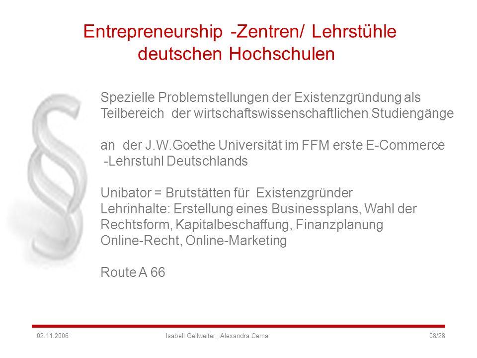 Entrepreneurship -Zentren/ Lehrstühle deutschen Hochschulen Spezielle Problemstellungen der Existenzgründung als Teilbereich der wirtschaftswissenscha